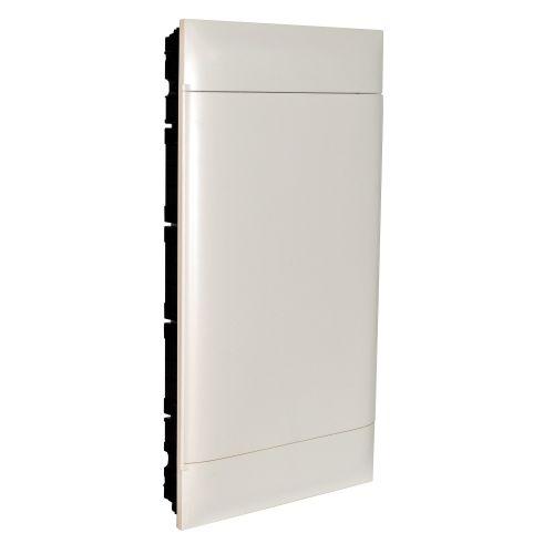 Practibox S - Quadro de encastrar  p/ paredes ocas 4x18 módulos, porta branca.